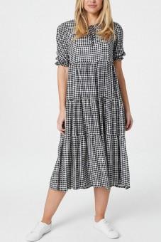 Gingham Maxi  Dress, Aimelia Dr4284,in Black and White , with tiers.