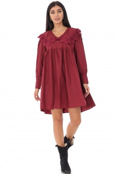 Rochie baby doll, ROH, grena, stil tunica - DR4232