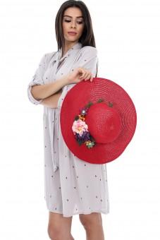 Palarie Rosie Accesorizata Cu Flori A0182