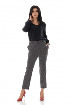 Pantaloni de dama, office, negru, in dungi - P20201-149