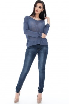 Pulover denim cu maneca lunga - CLB208