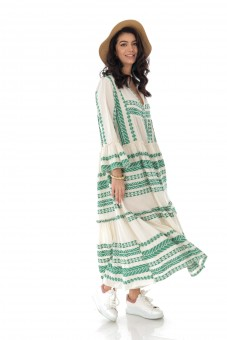 Rochie maxi, din bumbac, Boho Style - Green - ROH  - DR4167