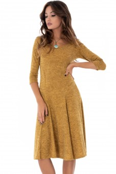 Rochie mustar, simpla, ROH - DR3569