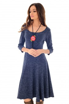 Rochie navy, ROH, in clini, tricotata - DR3669