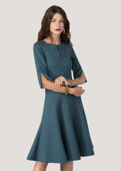 Rochie teal, ROH, midi, in clini - DR3677