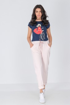 Pantaloni casual din material moale - Roz - ROH - TR378